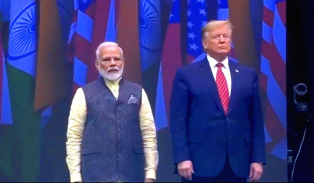 Prime Minister Narendra Modi and US President Donald Trump during the 'Howdy Modi' event at NRG Stadium in Houston, USA, on Sep 22, 2019. - Narendra Modi