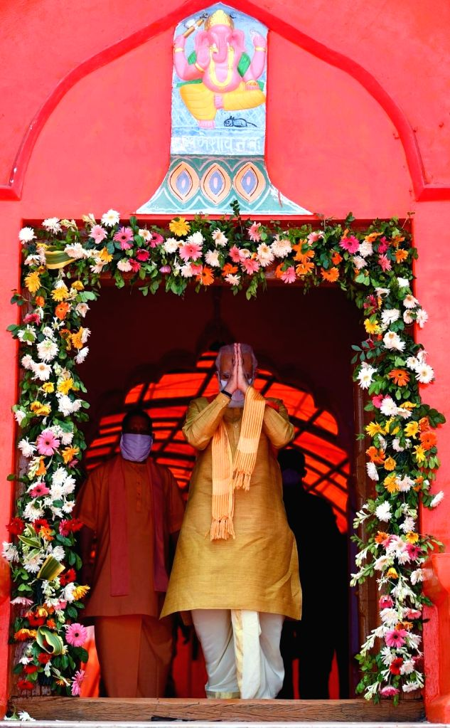 Prime Minister Narendra Modi and Uttar Pradesh Chief Minister Yogi Adityanath at Hanumangarhi, the largest temple in Ayodhya ahead of the bhumi pujan ceremony of the Ram Temple, on Aug 5, ... - Narendra Modi