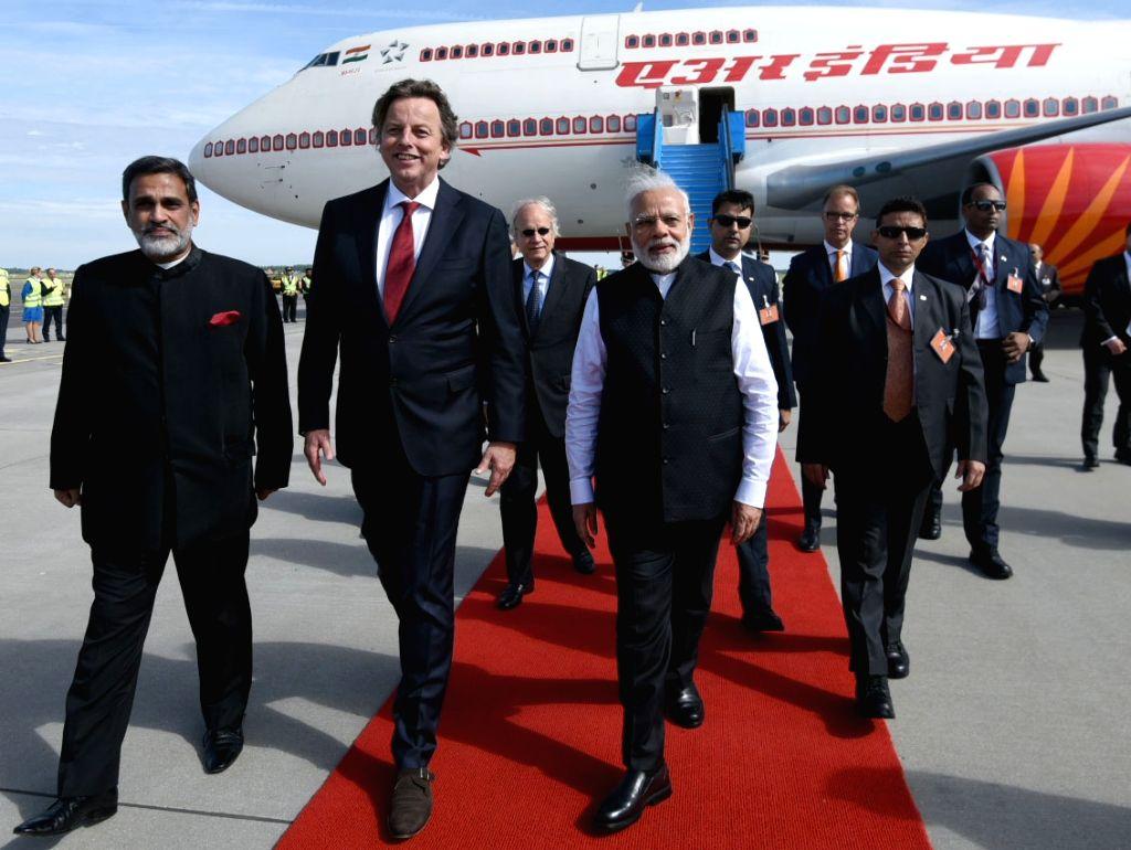 Prime Minister Narendra Modi arrives at Amsterdam, Netherlands to begin his last leg of 3 nation tour on June 27, 2017. - Narendra Modi