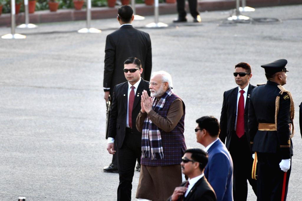 Prime Minister Narendra Modi arrives at the Beating the Retreat Ceremony 2020, at Vijay Chowk in New Delhi on Jan 29, 2020. - Narendra Modi