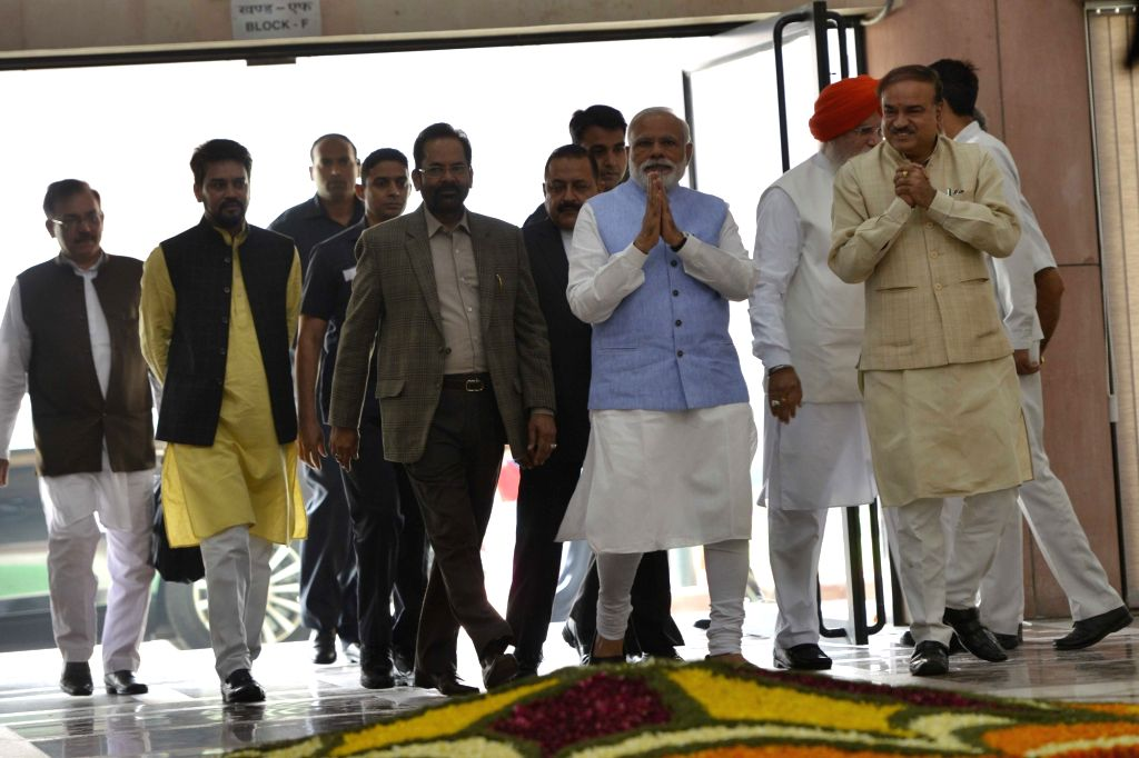 Prime Minister Narendra Modi arrives at the BJP Parliamentary party meeting at Parliament house library, in New Delhi on March 16, 2017. - Narendra Modi