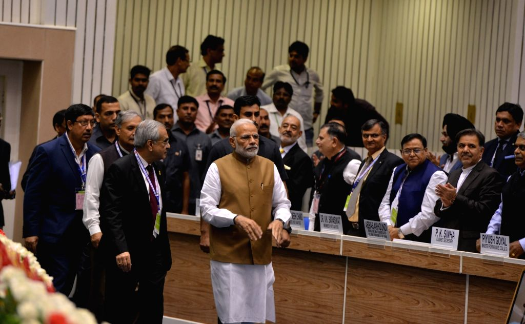 Prime Minister Narendra Modi arrives at the 'MOVE: Global Mobility Summit', in New Delhi, on Sept 7, 2018. - Narendra Modi