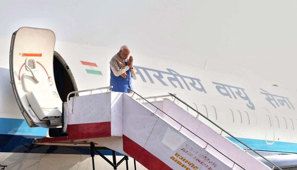 Prime Minister Narendra Modi arrives at Varanasi, Uttar Pradesh on Feb 19, 2019. - Narendra Modi