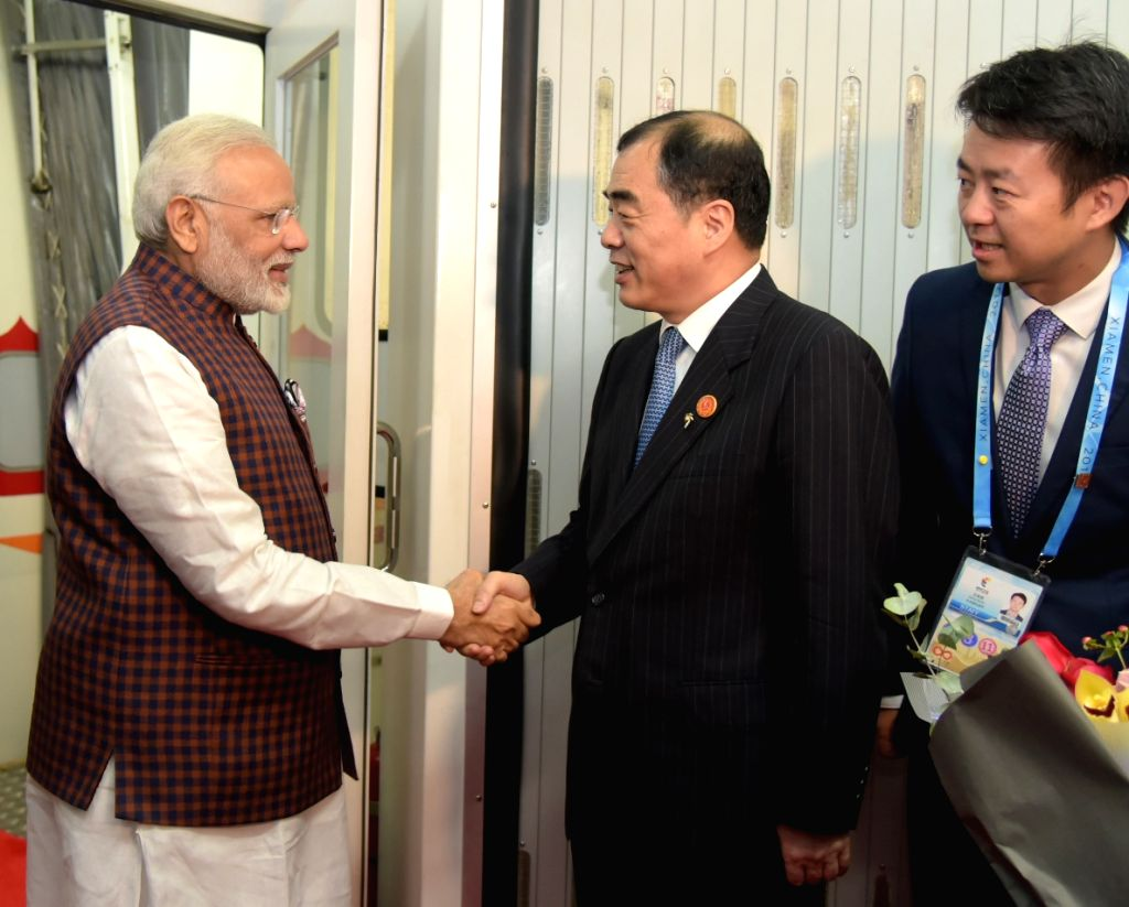 Prime Minister Narendra Modi arrives at Xiamen Gaoqi International Airport for 9th BRICS 2017, in Xiamen, China on Sept 3, 2017. - Narendra Modi