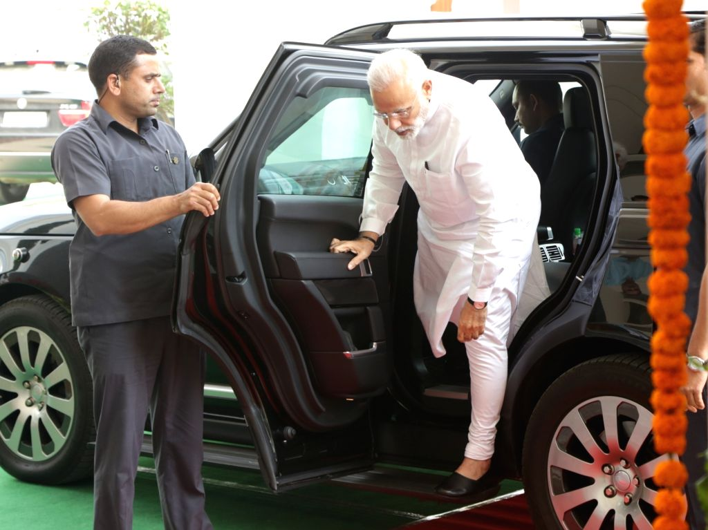 Prime Minister Narendra Modi arrives to inaugurate new building of Western Court Annexe, in New Delhi on April 4, 2018. - Narendra Modi
