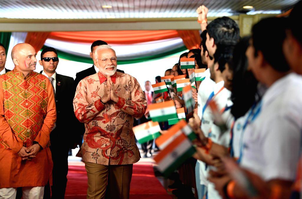 Prime Minister Narendra Modi arrives to addresses the Indian community, in Jakarta, Indonesia on May 30, 2018. - Narendra Modi