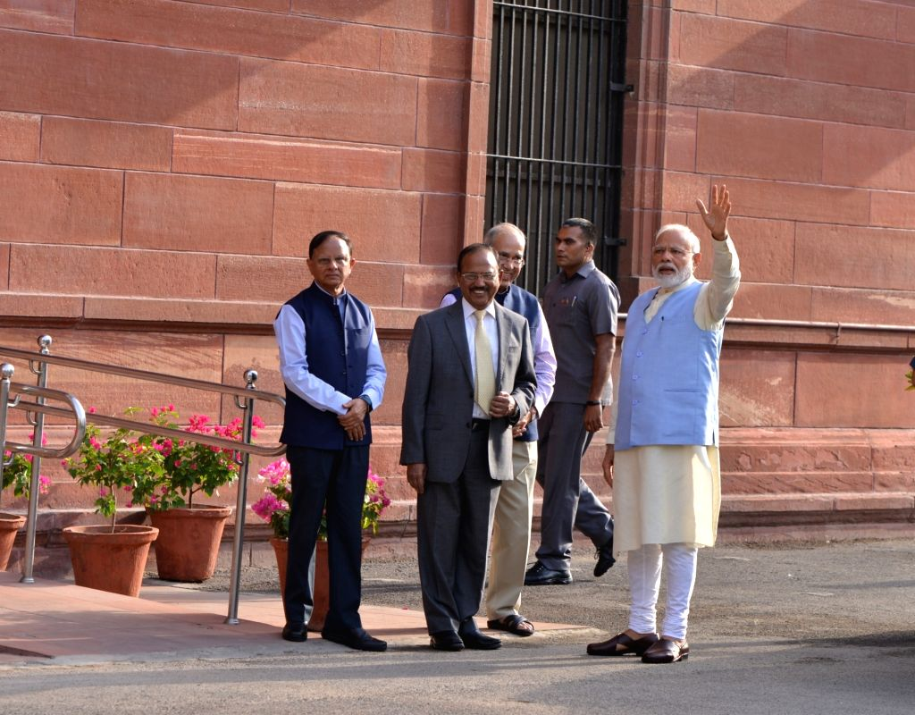 Prime Minister Narendra Modi arrives to chair the first cabinet meeting after taking oath for a second consecutive term, at South Block in New Delhi on May 31, 2019. - Narendra Modi
