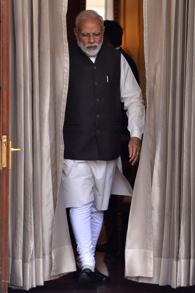 Prime Minister Narendra Modi arrives to meet Monaco's Head of State Prince Albert II at Hyderabad House in New Delhi, on Feb 5, 2019. - Narendra Modi