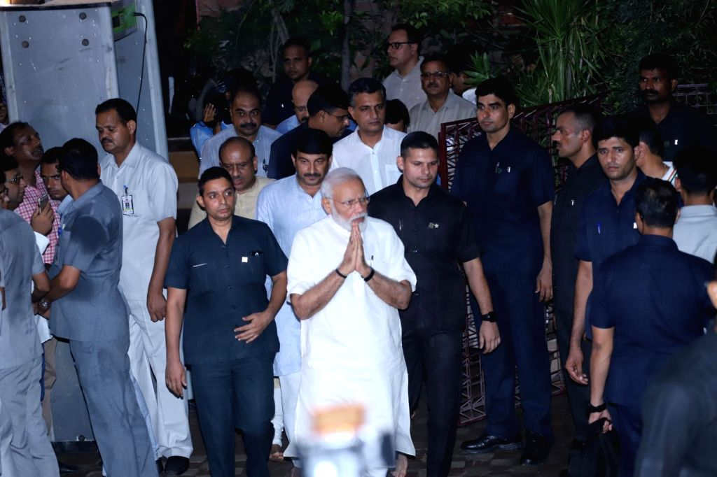Prime Minister Narendra Modi arrives to pay tribute to Former Chief Minister Sheila Dikshit who passed away at a Delhi Hospital on July 20, 2019. - Narendra Modi and Sheila Dikshit
