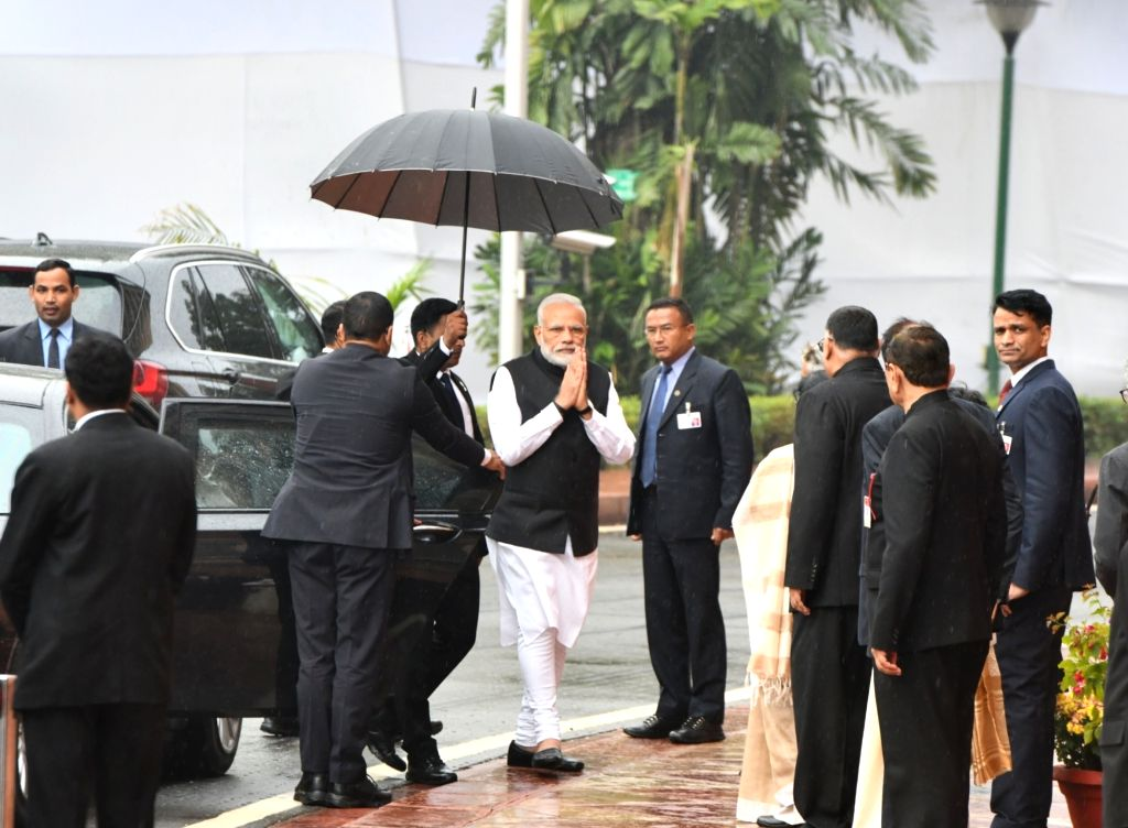 Prime Minister Narendra Modi arrives to pay tributes to the martyrs on 18th anniversary of Parliament attack at Parliament House in New Delhi on Dec 13, 2019. - Narendra Modi