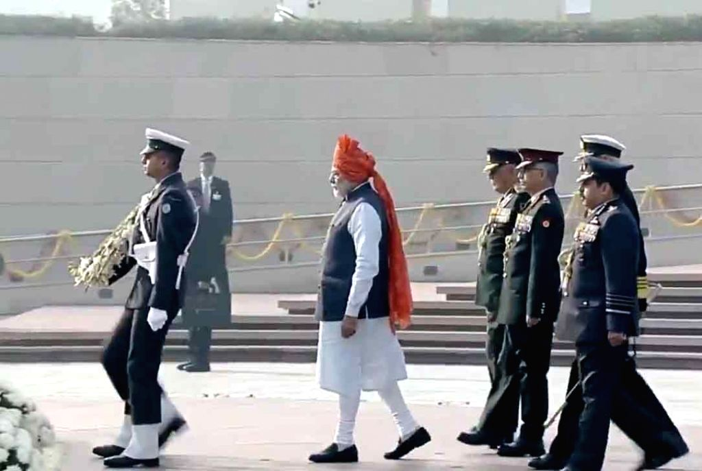 Prime Minister Narendra Modi arrives to pays tributes to the martyred soldiers at National War Memorial on the occasion of India's 71st Republic Day, in New Delhi on Jan 26, 2020. - Narendra Modi