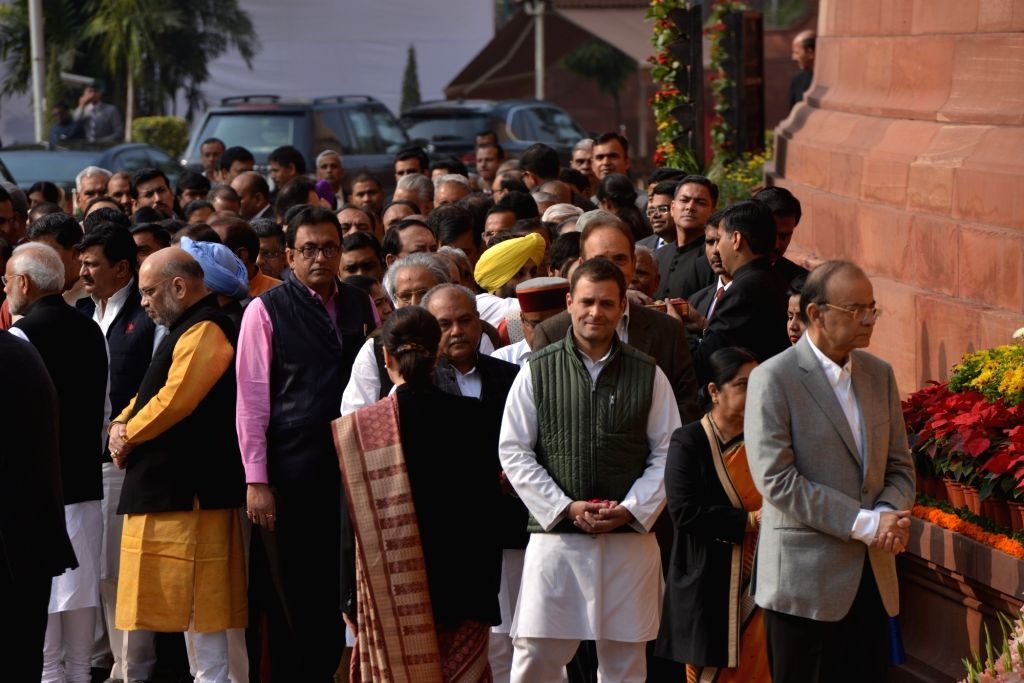 Prime Minister Narendra Modi, Arun Jaitley, Rahul Gandhi with other senior political leaders pay tribute at the anniversary of 2001 Parliament Attack at Parliament House in New Delhi on ... - Narendra Modi, Arun Jaitley and Rahul Gandhi