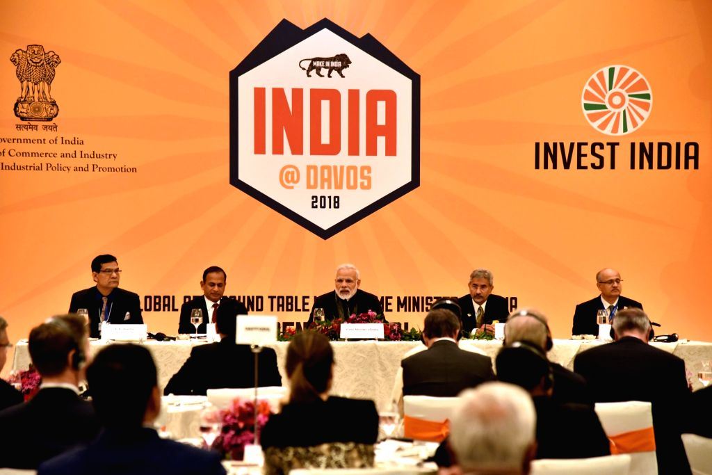 Prime Minister Narendra Modi at a round-table meeting with CEOs in Davos, Switzerland on Jan 22, 2018. - Narendra Modi
