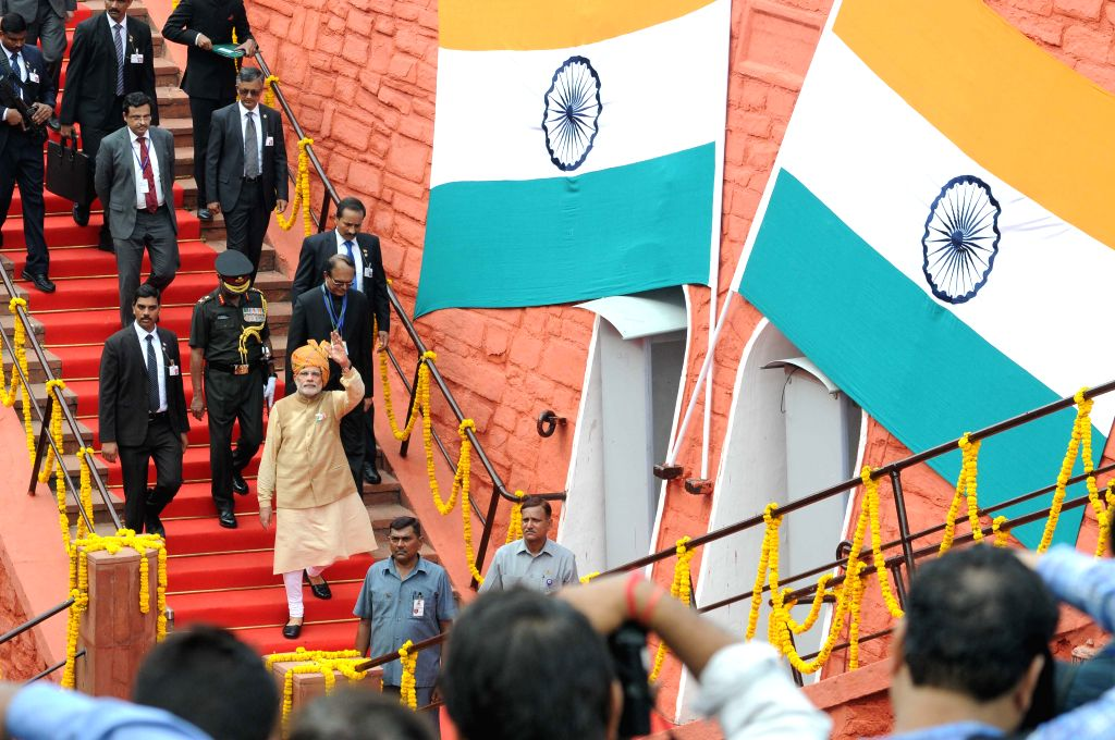 Prime Minister Narendra Modi at Red Fort on the occasion of 69th Independence Day in Delhi on August 15, 2015. - Narendra Modi