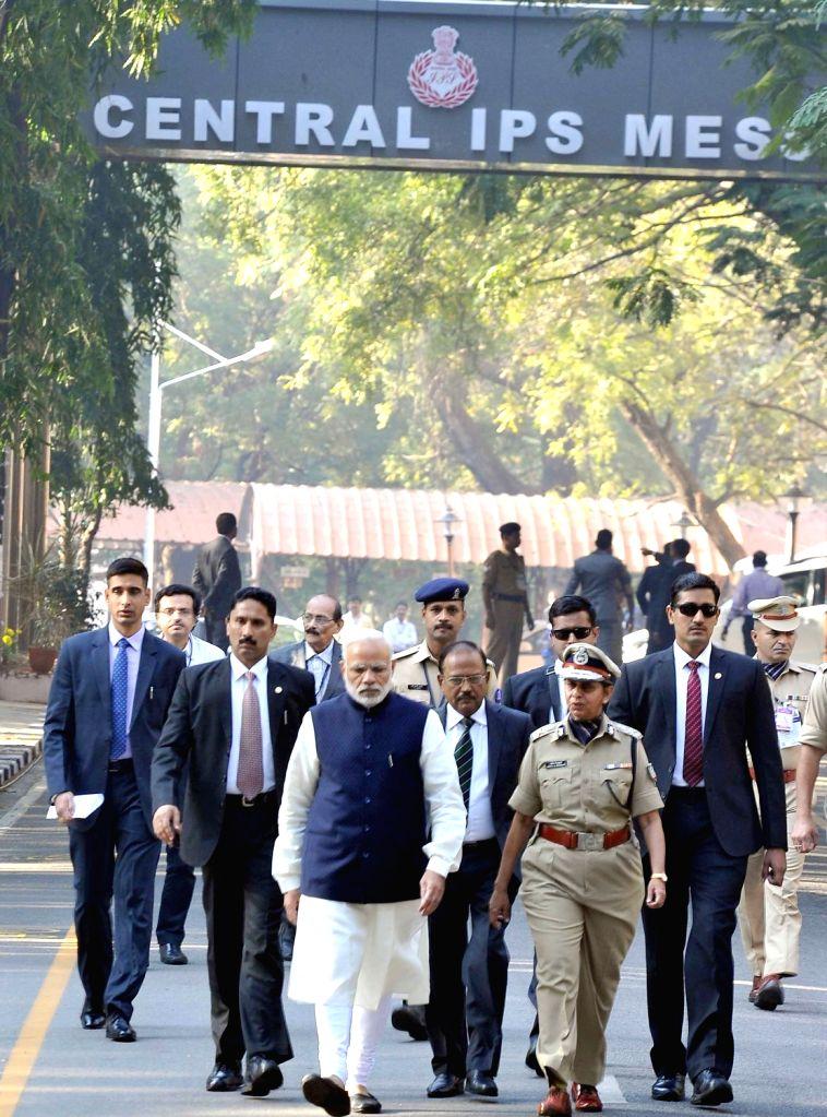 Prime Minister Narendra Modi at Sardar Vallabhbhai Patel National Police Academy in Hyderabad on Nov 26, 2016. - Narendra Modi