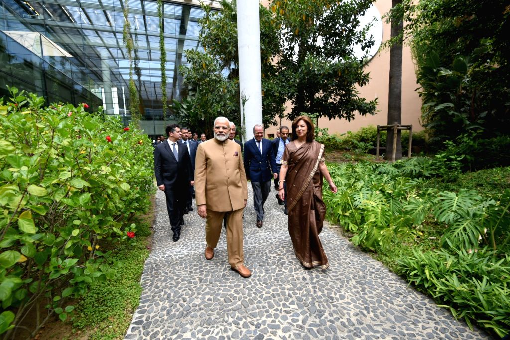 Prime Minister Narendra Modi at the Champalimaud Foundation designed by noted Indian architect Charles Correa, in Lisbon, Portugal on June 24, 2017. - Narendra Modi
