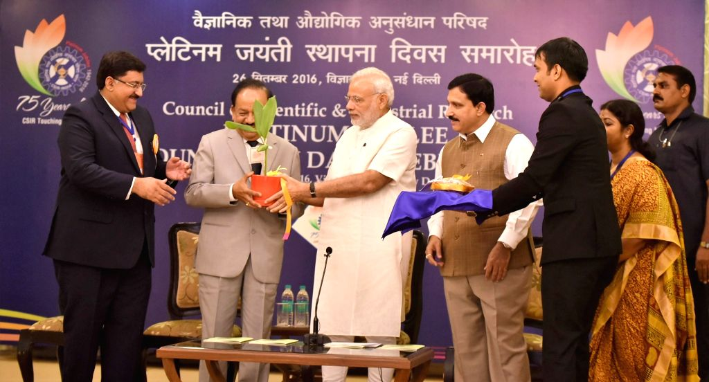 Prime Minister Narendra Modi at the CSIR Platinum Jubilee Celebrations, in New Delhi on September 26, 2016. The Union Minister for Science & Technology and Earth Sciences Harsh ... - Narendra Modi