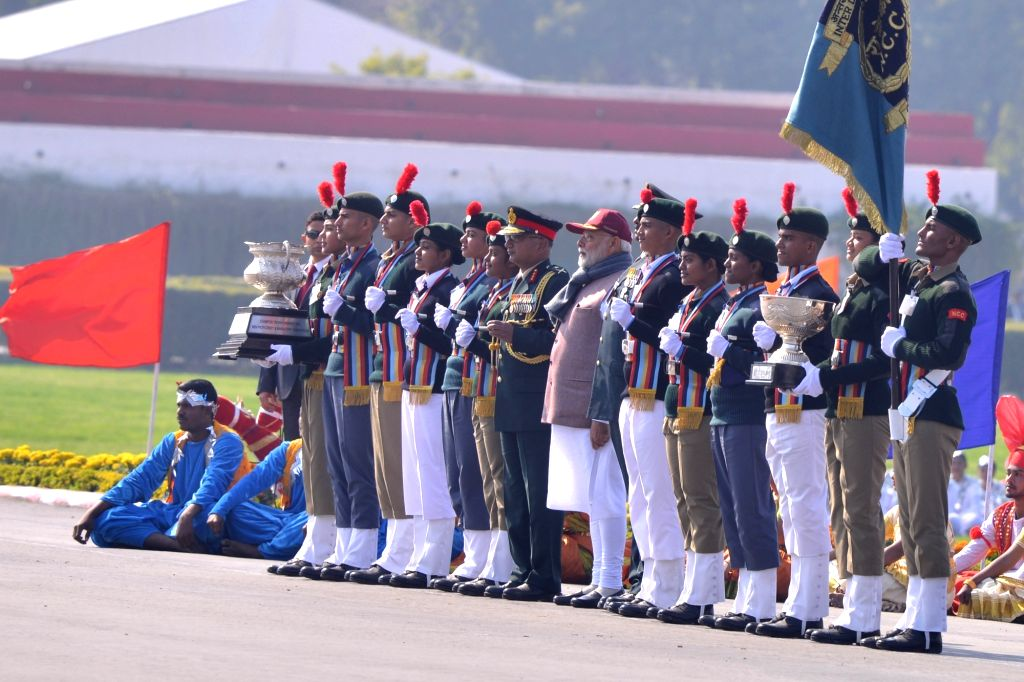Prime Minister Narendra Modi at the culmination parade of this year's National Cadet Corps (NCC) Republic Day Camp at Cariappa Parade Ground in New Delhi, on Jan 28, 2019. - Narendra Modi