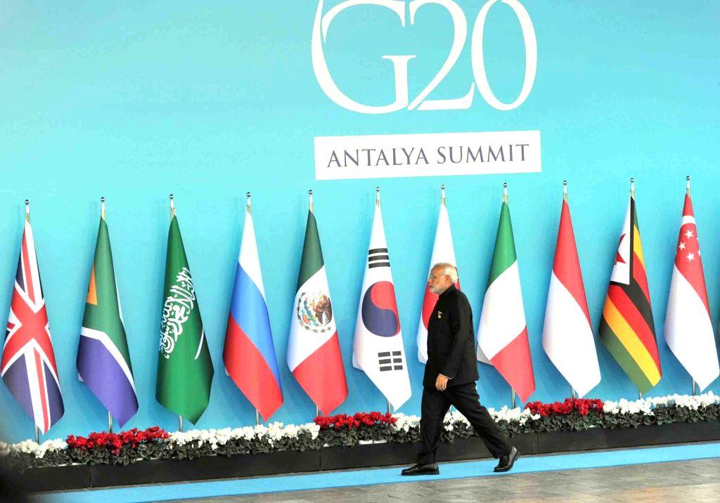 Prime Minister Narendra Modi at the G20 Turkey 2015, in Antalya, Turkey on Nov 15, 2015. - Narendra Modi