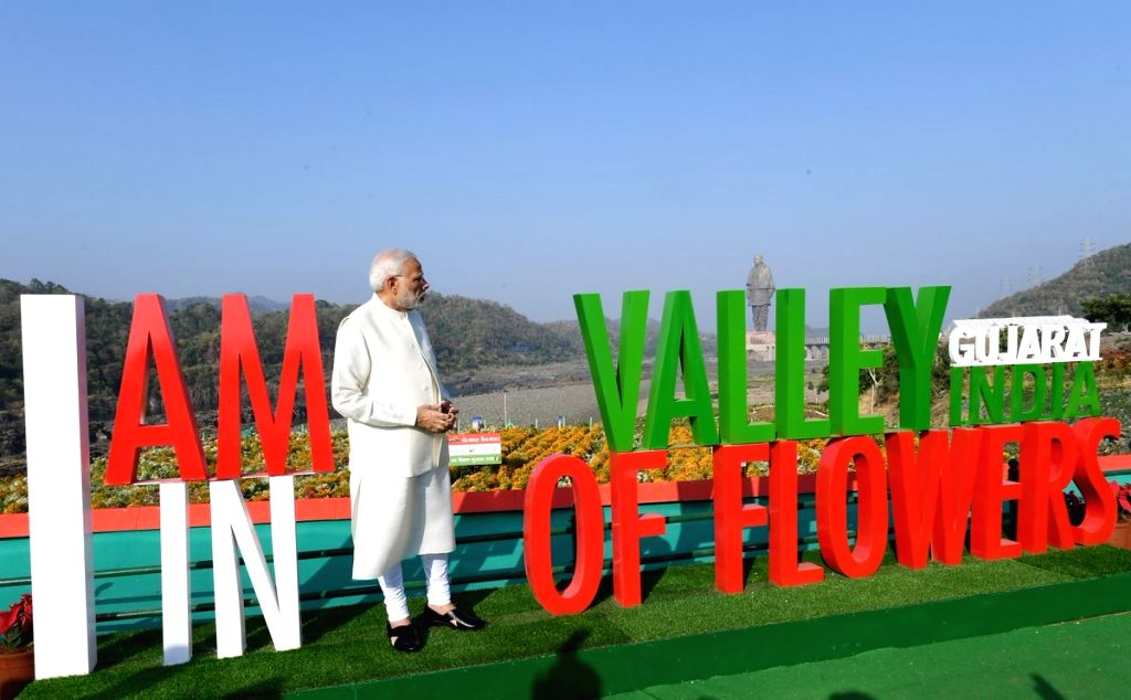 Prime Minister Narendra Modi at the inauguration of 'Valley of Flowers' in Kevadiya of Gujarat's Narmada District on Oct 31, 2018. - Narendra Modi