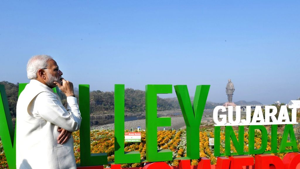 Prime Minister Narendra Modi at the inauguration of 'Valley of Flowers' in Kevadiya of Gujarat's Narmada District on Oct 31, 2018. He also inaugurated 'Statue of Unity' on the occasion ... - Narendra Modi and Sardar Vallabhbhai Patel