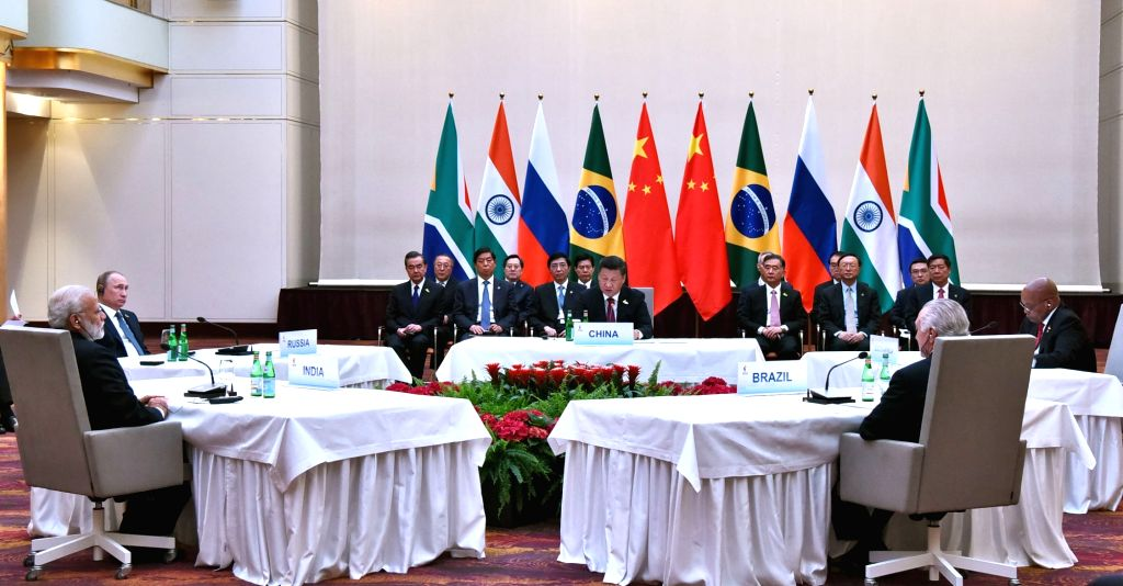 Prime Minister Narendra Modi at the informal meeting of leaders of the BRICS countries, on the sidelines of the 12th G-20 Summit, in Hamburg, on July 7, 2017. - Narendra Modi