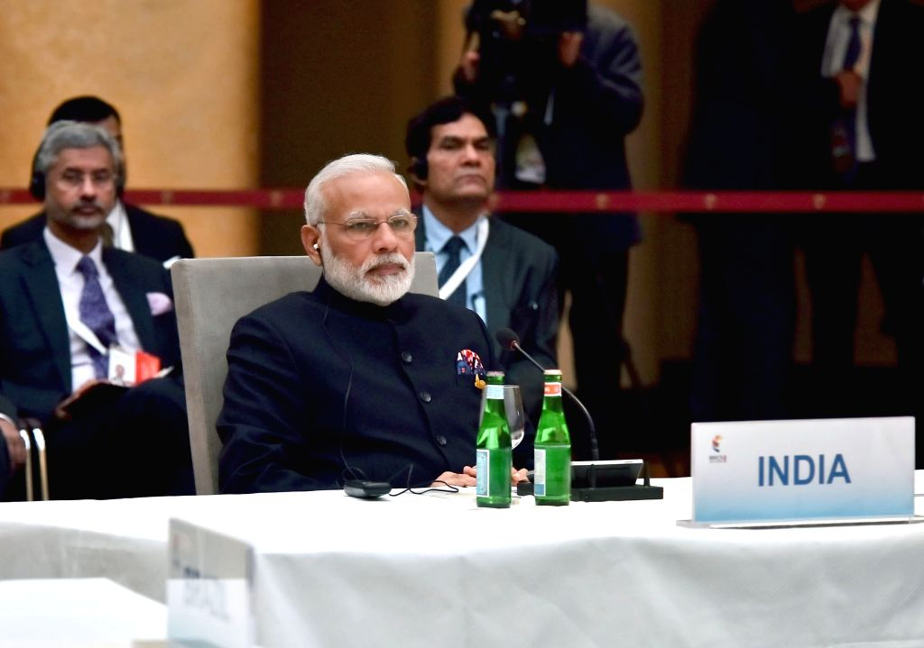 Prime Minister Narendra Modi at the informal meeting of leaders of the BRICS countries on the sidelines of the 12th G-20 Summit in Hamburg, on July 7, 2017. Also seen Foreign Secretary S ... - Narendra Modi