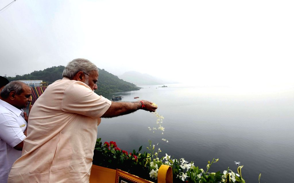 Prime Minister Narendra Modi at the Sardar Sarovar Dam in Gujarat on Sept 17, 2017. - Narendra Modi