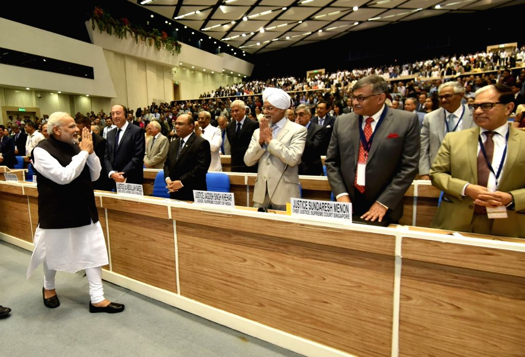 Prime Minister Narendra Modi at the valedictory session of National Initiative towards Strengthening Arbitration and Enforcement, in New Delhi on Oct 23, 2016. - Narendra Modi
