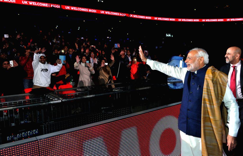Prime Minister Narendra Modi at Wembley Stadium, in London on Nov 13, 2015. - Narendra Modi