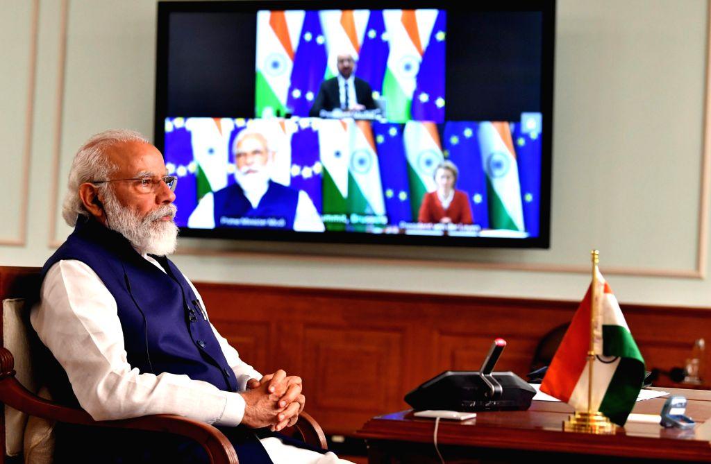 Prime Minister Narendra Modi attends India-EU Virtual Summit 2020 via video conferencing from New Delhi on July 15, 2020. (Video Grab: IANS/PIB) - Narendra Modi