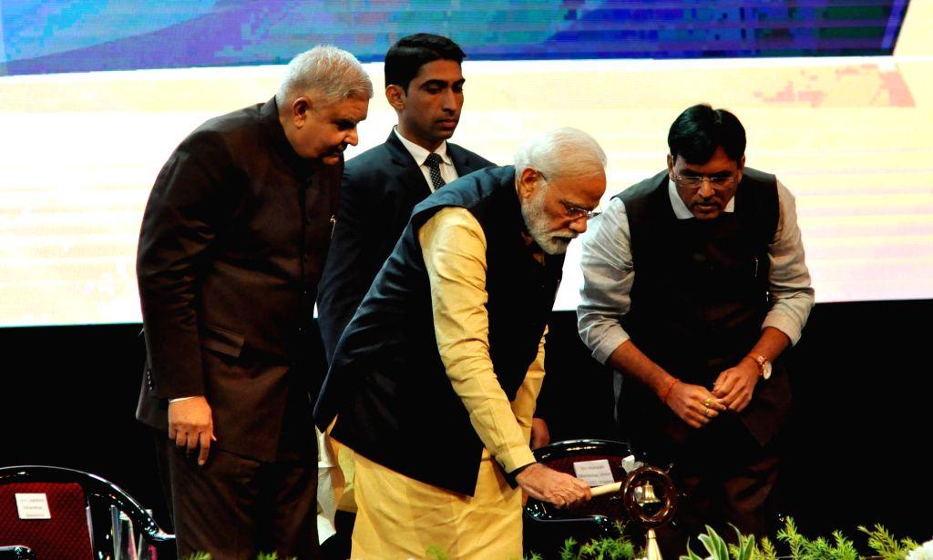 Prime Minister Narendra Modi attends the 150th anniversary celebrations of Kolkata Port Trust, in Kolkata on Jan 12, 2020. Also seen West Bengal Governor Jagdeep Dhankhar and MoS for ... - Narendra Modi