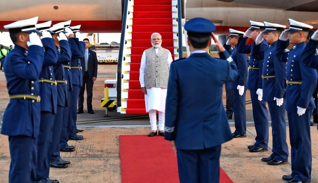 Prime Minister Narendra Modi being accorded Guard of Honour on his arrival in Brasilia, Brazil to participate in the 11th BRICS Summit, on Nov 13, 2019. - Narendra Modi