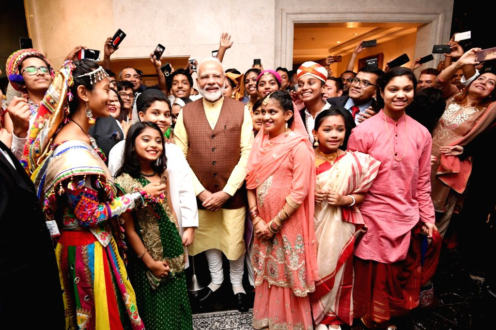 Prime Minister Narendra Modi being being welcomed by the Indian community, in Manama, Bahrain on Aug 24, 2019. - Narendra Modi