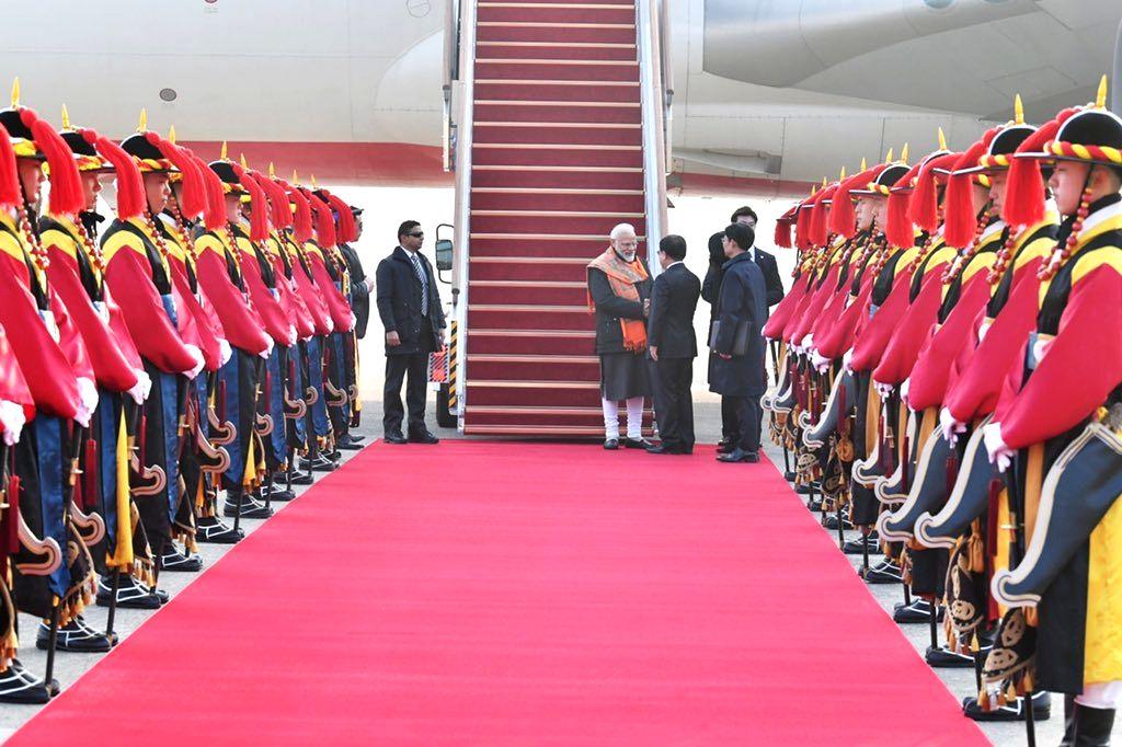 Prime Minister Narendra Modi being received on his arrival in Seoul, Republic of Korea (South Korea) on Feb 21, 2019. - Narendra Modi