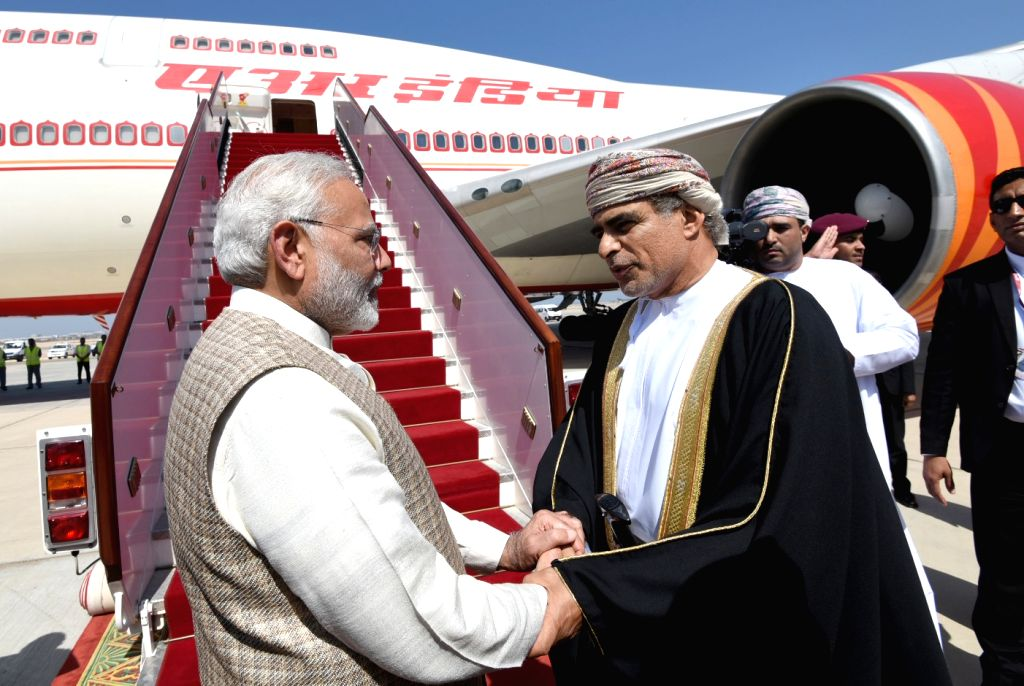 Prime Minister Narendra Modi being seen off as he leaves for New Delhi from Muscat after concluding his 4-day visit to Jordan, Palestine, UAE and Oman, on Feb 12, 2018. - Narendra Modi