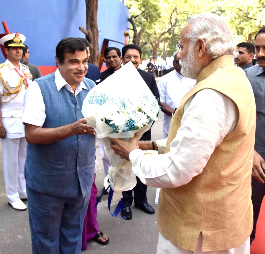 Prime Minister Narendra Modi being welcomed by the Union Minister for Road Transport & Highways and Shipping Nitin Gadkari, on his arrival at the venue to attend the Maritime India ... - Narendra Modi