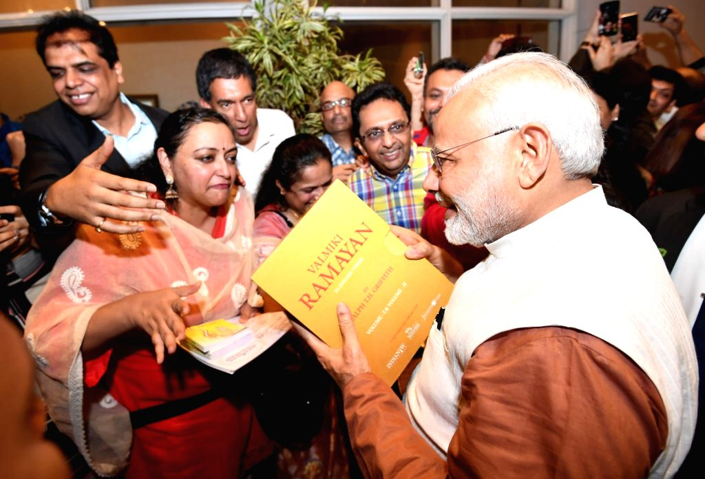Prime Minister Narendra Modi being welcomed by the Indian Community in Jakarta of Indonesia on May 29, 2018. - Narendra Modi