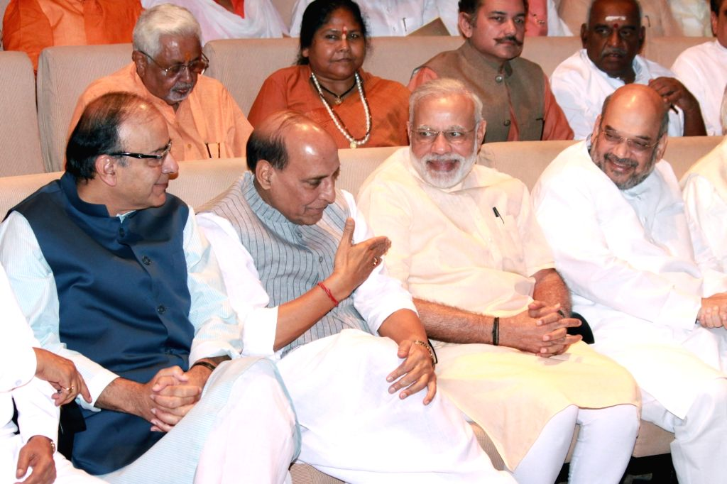 Prime Minister Narendra Modi, BJP president Amit Shah, Home Minister Rajnath Singh, Finance Minister Arun Jaitley and other party leaders at BJP Parliamentary Party meeting in Parliament ... - Narendra Modi, Amit Shah, Rajnath Singh and Arun Jaitley