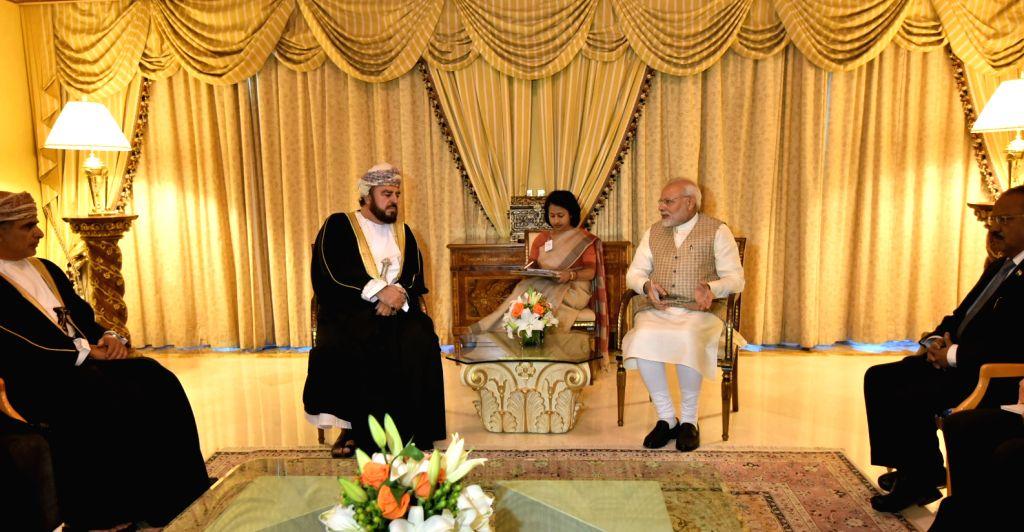 Prime Minister Narendra Modi calls on Deputy Prime Minister for International Relations and Cooperation Affairs of Oman, Sayyid Asa'ad bin Tariq Al Said in Muscat, Oman on Feb 12, 2018. - Narendra Modi