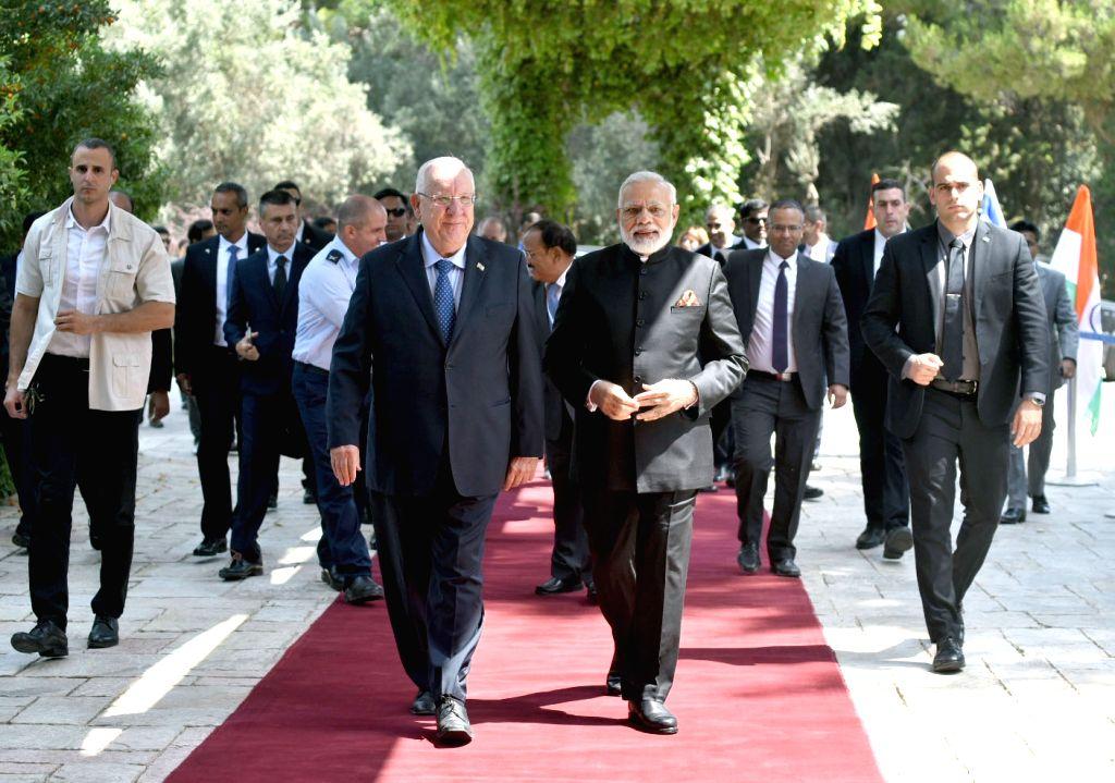 Prime Minister Narendra Modi calls on  Israeli President Reuven Rivlin in Jerusalem, Israel on July 05, 2017. - Narendra Modi