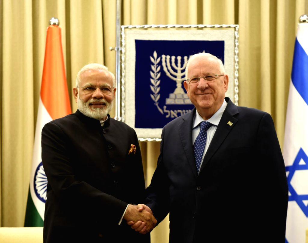 Prime Minister Narendra Modi calls on Israeli President Reuven Rivlin, in Jerusalem, Israel on July 5, 2017. - Narendra Modi