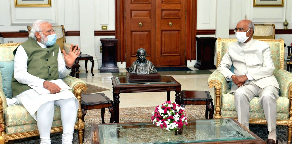 Prime Minister Narendra Modi calls on President Ram Nath Kovind and briefs him on the issues of national and international importance at Rashtrapati Bhavan, in New Delhi on July 5, 2020. - Narendra Modi and Nath Kovind