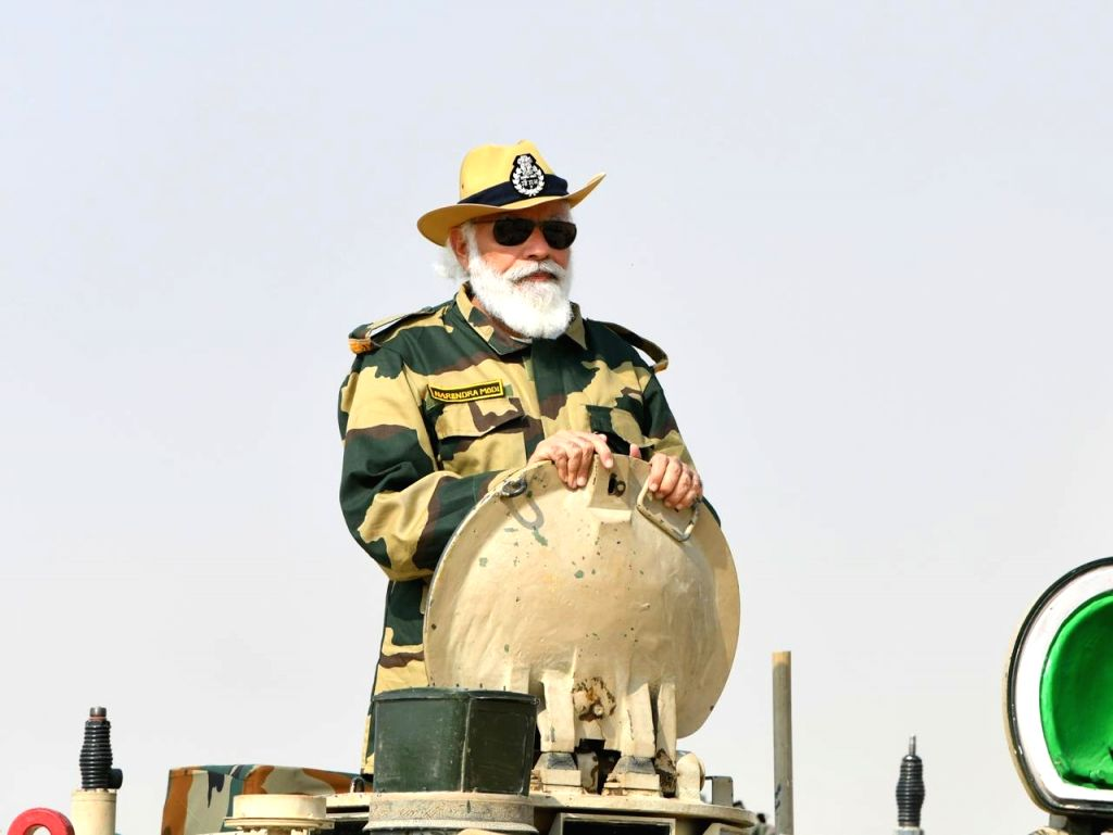 Prime Minister Narendra Modi celebrates Diwali with security forces in Longewala of Rajasthan's Jaisalmer on Nov 14, 2020. - Narendra Modi