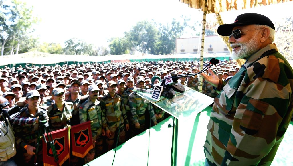 Prime Minister Narendra Modi celebrates Diwali with the soldiers in Rajouri of Jammu and Kashmir on Oct 27, 2019. - Narendra Modi
