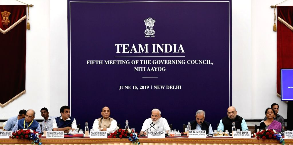 Prime Minister Narendra Modi chairs the fifth meeting of the Governing Council of NITI Aayog, in New Delhi on June 15, 2019. Also seen Union Ministers Nitin Gadkari, Rajnath Singh, Amit ... - Narendra Modi, Nitin Gadkari, Rajnath Singh, Amit Shah, Nirmala Sitharaman and Niti Aayog Vice-Chairman Rajiv Kumar