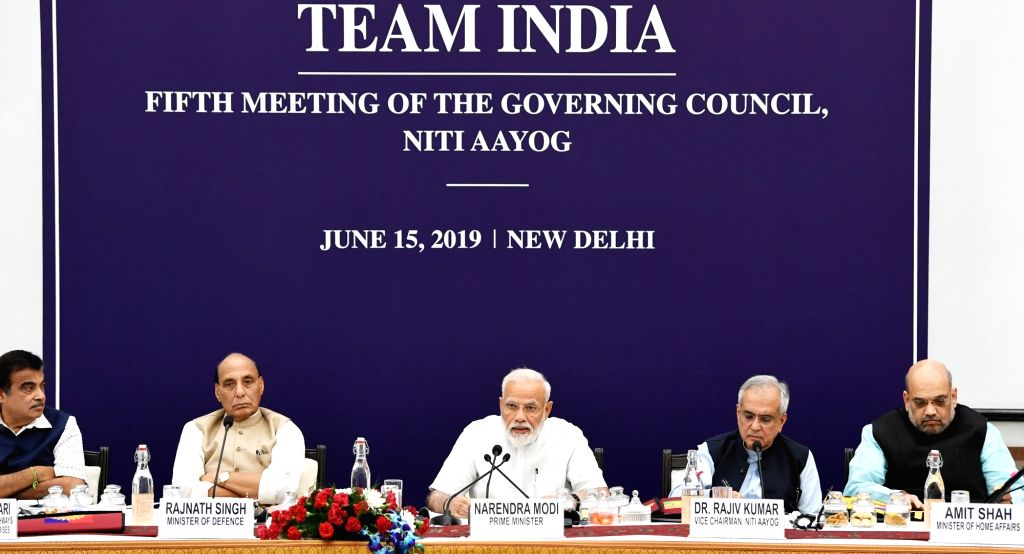 Prime Minister Narendra Modi chairs the fifth meeting of the Governing Council of NITI Aayog, in New Delhi on June 15, 2019. Also seen Union Ministers Nitin Gadkari, Rajnath Singh, Amit ... - Narendra Modi, Nitin Gadkari, Rajnath Singh, Amit Shah and Niti Aayog Vice-Chairman Rajiv Kumar