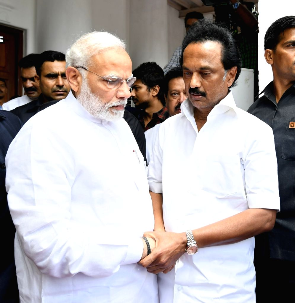 Prime Minister Narendra Modi consoles late DMK President M. Karunanidhi's son M.K. Stalin, in Chennai on Aug 8, 2018. - Narendra Modi