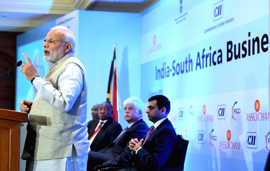 Prime Minister Narendra Modi delivers his address at India-South Africa Business Forum in New Delhi on Jan 25, 2019. - Narendra Modi