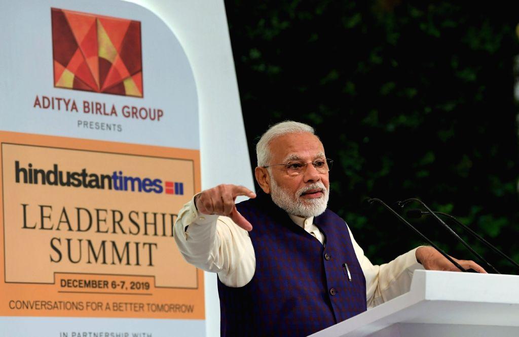 Prime Minister Narendra Modi delivers the inaugural address at the Hindustan Times ership Summit 2019 in New Delhi on Dec 6, 2019. - Narendra Modi